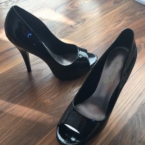 Jessica Simpson black patent heels, size 7.5